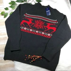 Chaps Reindeer Snowflake Mock-Neck Sweater L NWT
